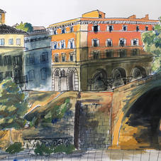 """Piazza Tevere in Rome, Italy 8x10"""" Gouache and Ink 2019"""