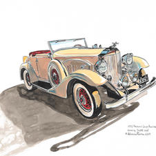 """1933 Packard Coupe Roadster 11x14"""" Gouache and Ink Painting 2020"""