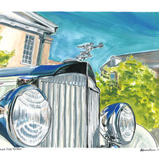 """1933 Packard Coupe Roadster Grill 11x14"""" Gouache and Ink Painting 2021"""