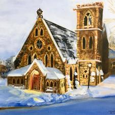 "Snowy UVA Chapel 16x20"" Acrylic Painting on Canvas 2019"