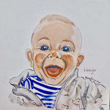 """Llewyn Laughing 6x6"""" Gouache and Ink Painting 2020"""
