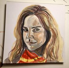 "Hermione Granger 6x6"" Gouache Painting 2020"