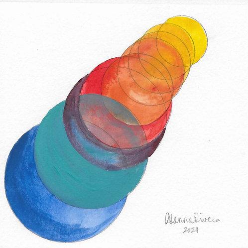 TikTok Rainbow Suns 6x6 Inch Gouache Painting