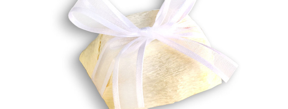 Yellow Wrapping with White Ribbon