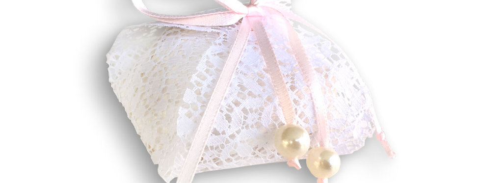 White Decorative Wrapping with Pink Ribbon