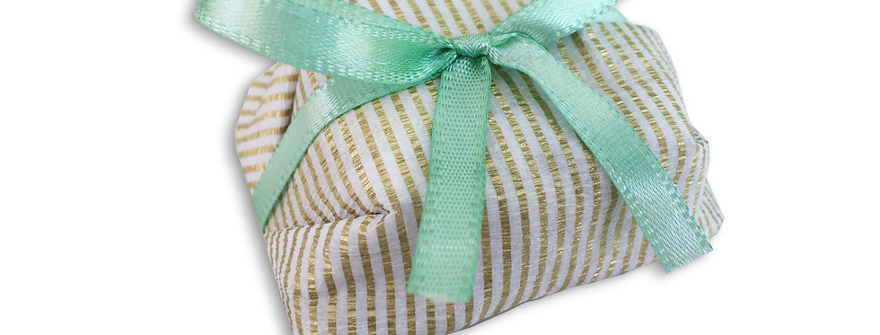 Gold and White Stripes Wrapping with Green Ribbon