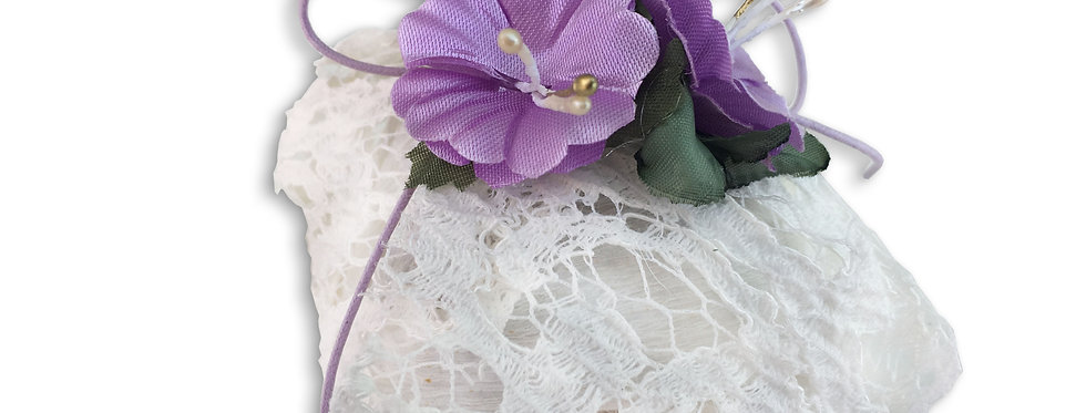 Sequenced White Wrapping with Purple String Tie