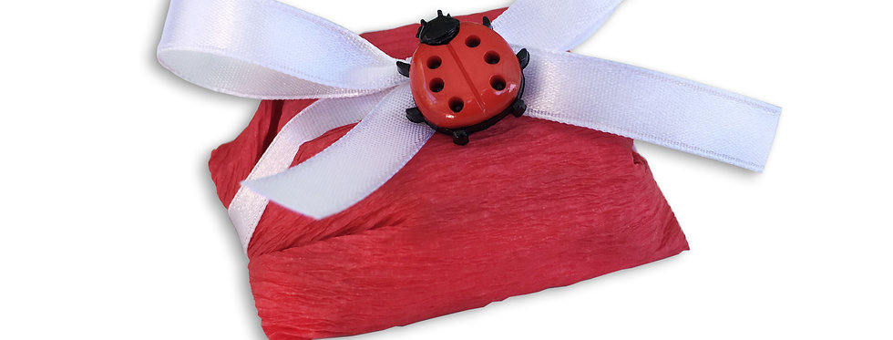 Red Wrapping with White Ribbon