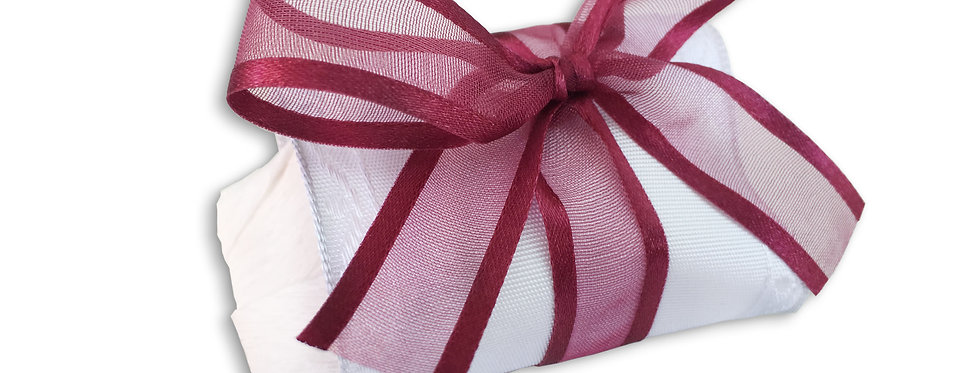 White Wrapping with Maroon Ribbon