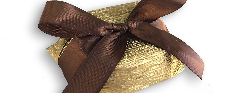 Gold Wrapping with Brown Ribbon