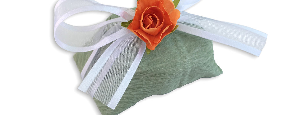 Green Wrapping with White Ribbon
