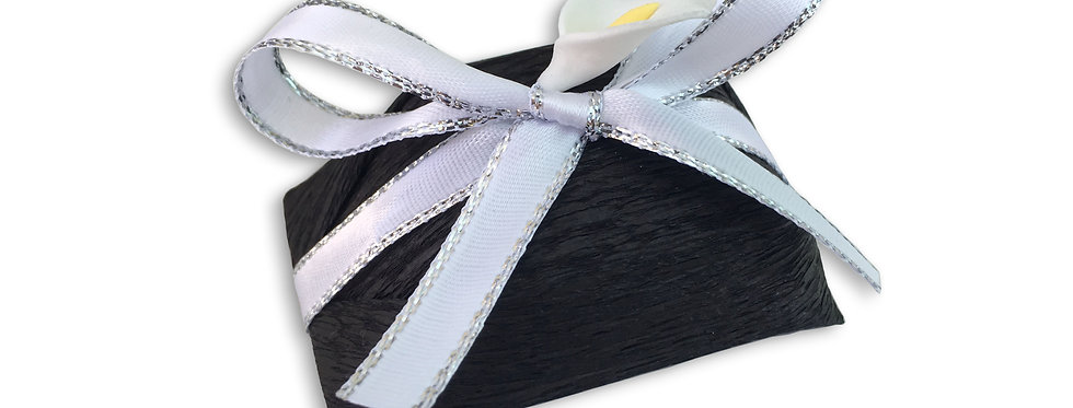 Black Wrapping with White and Silver Ribbon