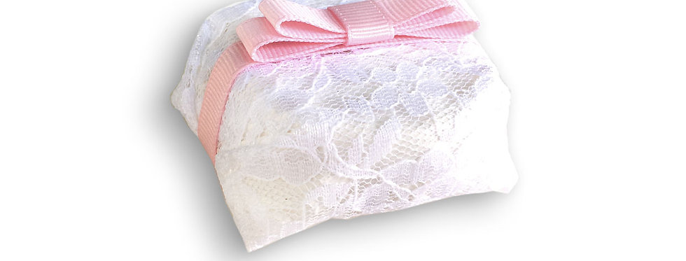 Sequenced White Wrapping with Pink Ribbon
