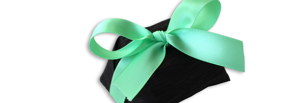 Black Wrapping with Green Ribbon