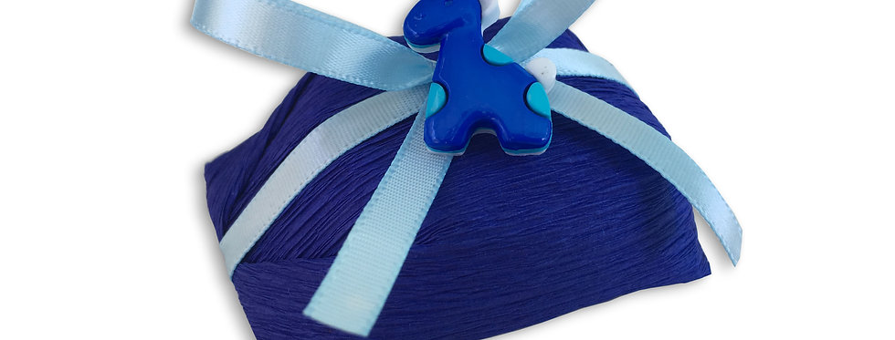 Navy Blue Wrapping with Light Blue Ribbon