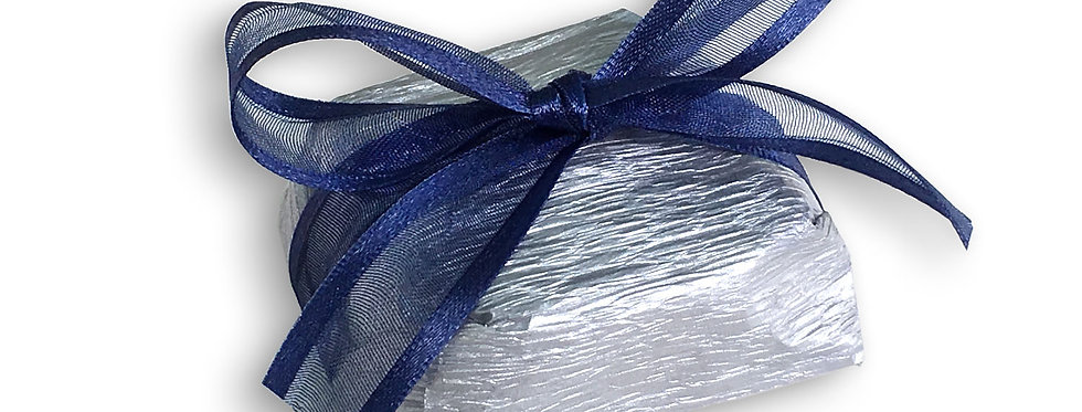 Silver Wrapping with Blue Ribbon