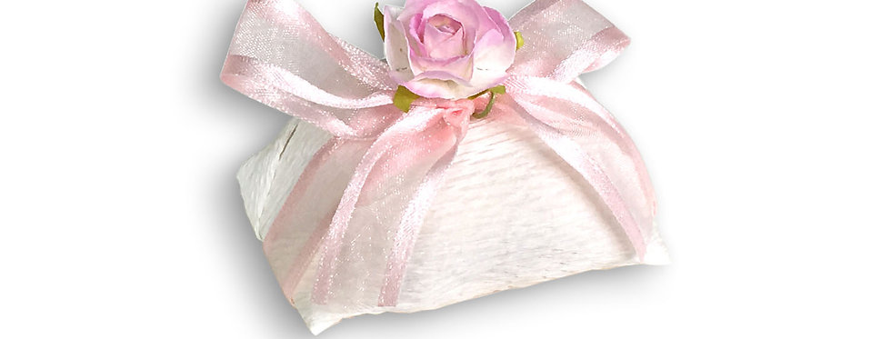 White Wrapping with Pink Ribbon
