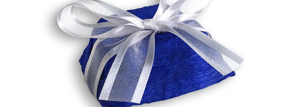 Blue Wrapping with Silver Ribbon