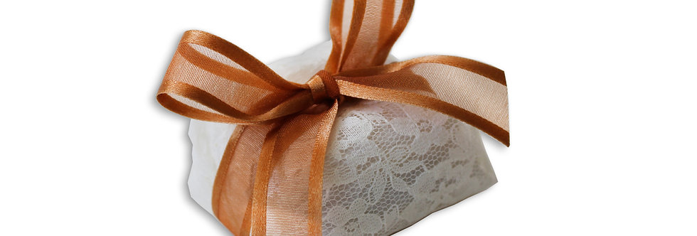 White Sequenced Wrapping with Orange Ribbon