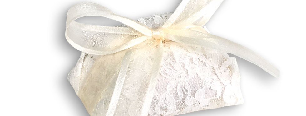 Sequenced White Wrapping with Ivory Ribbon