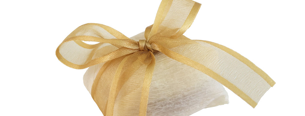 White Wrapping with Gold Ribbon