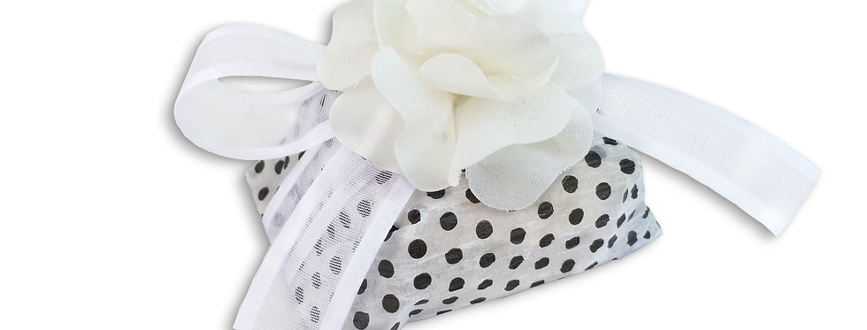 Black and White Wrapping with White Ribbon