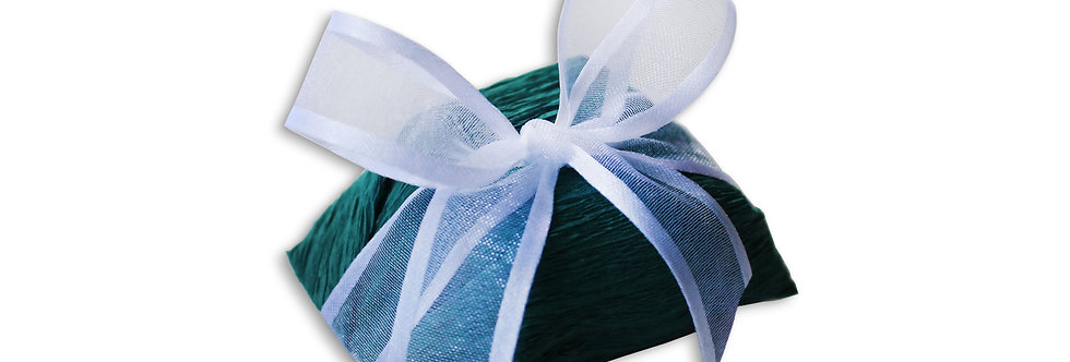 Forest Green Wrapping with White Ribbon