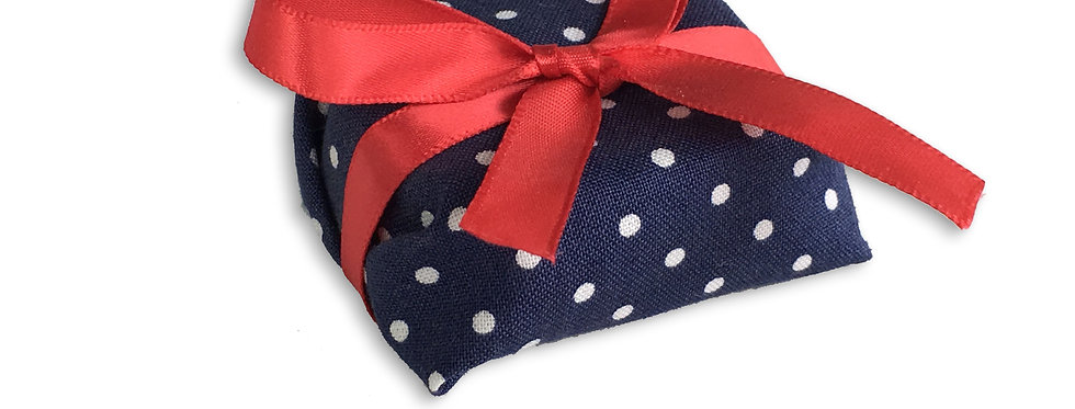 Blue Polka Dot Wrapping with Red Ribbon