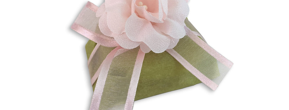 Green Wrapping with Pink Ribbon