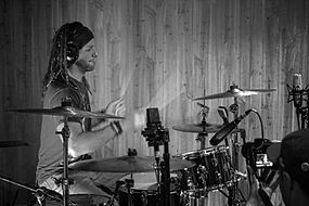 Zhach Kelsch recording drums at SixWill Studios