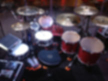 Zhach Kelsch's Touring drums. Ludwig, Remo, Roland, Silverfox Drumstricks, TRX Cymbals