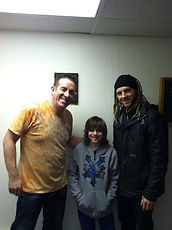 Zhach Kelsch with drum student and Jim Riley of Rascall Flatts