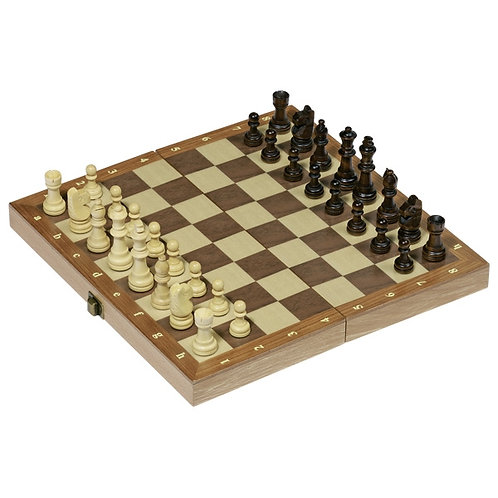 Chess set in a wooden hinged case