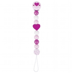 Heimess Soother chain, pink Heart