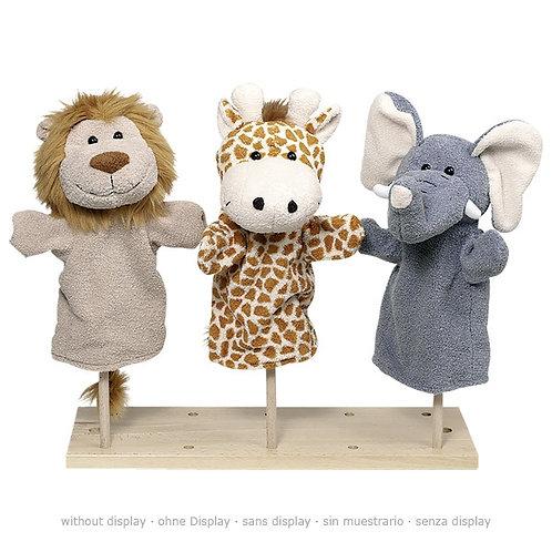 Hand puppets, wild animals, 3 assorted