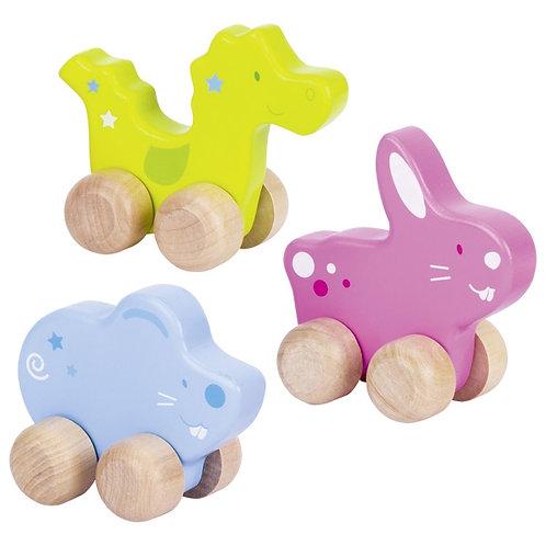 3 Push-along animals, set of 3 wooden animals