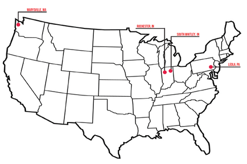 Map of Whitley Manufacturing's locations