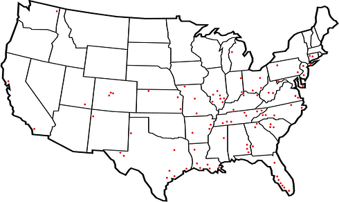 Map of where Whitley Manufacturing has built UpGrade Clear Span Buidlings