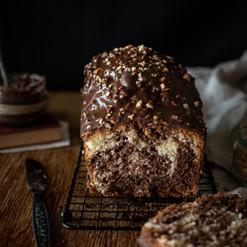 Cake marbré vanille et chocolat, glaçage rocher
