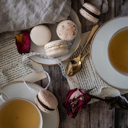 Photographie culinaire - Thé et macarons