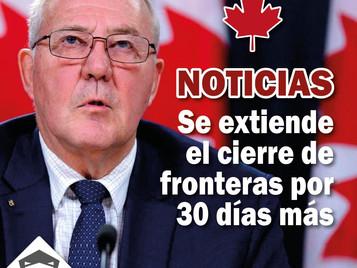 Gobierno federal de Canadá extiende el cierre de sus fronteras terrestres por 30 días más