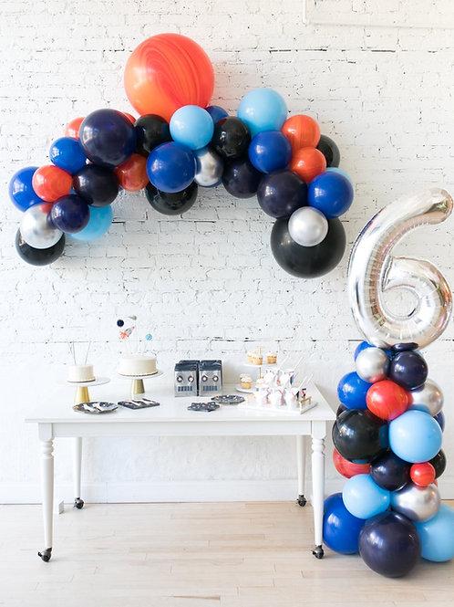 Space Theme Mini Balloon Garland + #Coloumn