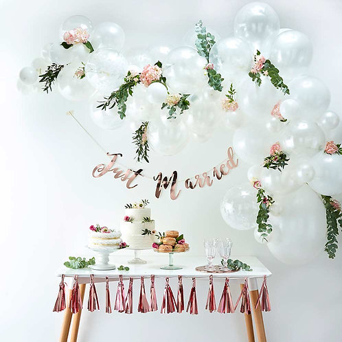Pearl-White Mini Garland w Greenery