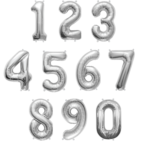 Silver Number Balloons (Large Size)