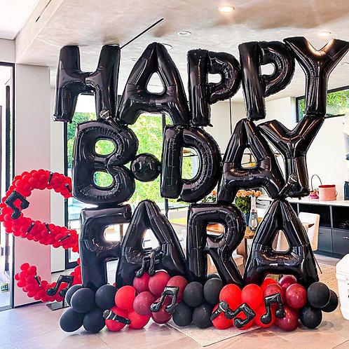 Black Birthday Balloon Letter Sculpture (For Shorter Names)