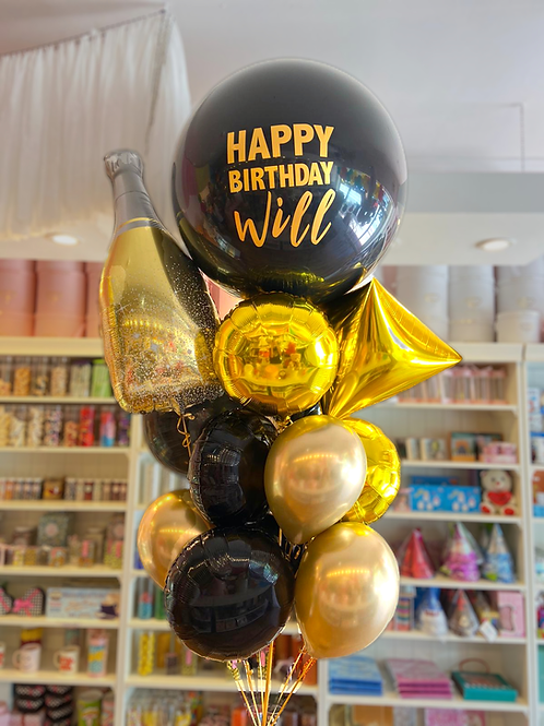 Custom Gold/Black  - Balloon Bouquet (M)