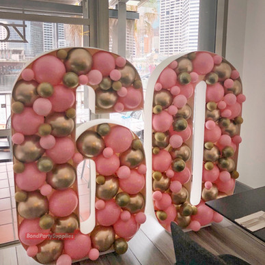 Number Balloon Mosaics - Pink & Gold
