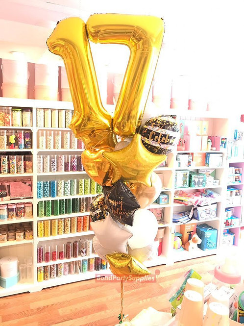 Number Birthday Bouquets - Gold/Black