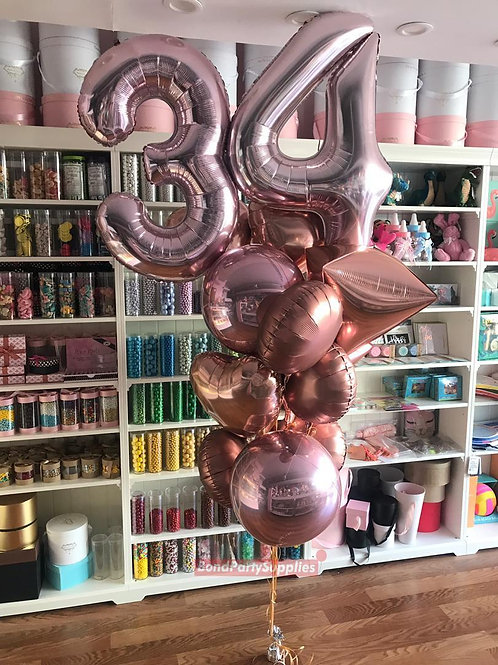 Number Birthday Bouquets - Rose Gold Edition