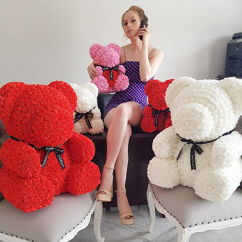 White Rose Bear with Heart - XL
